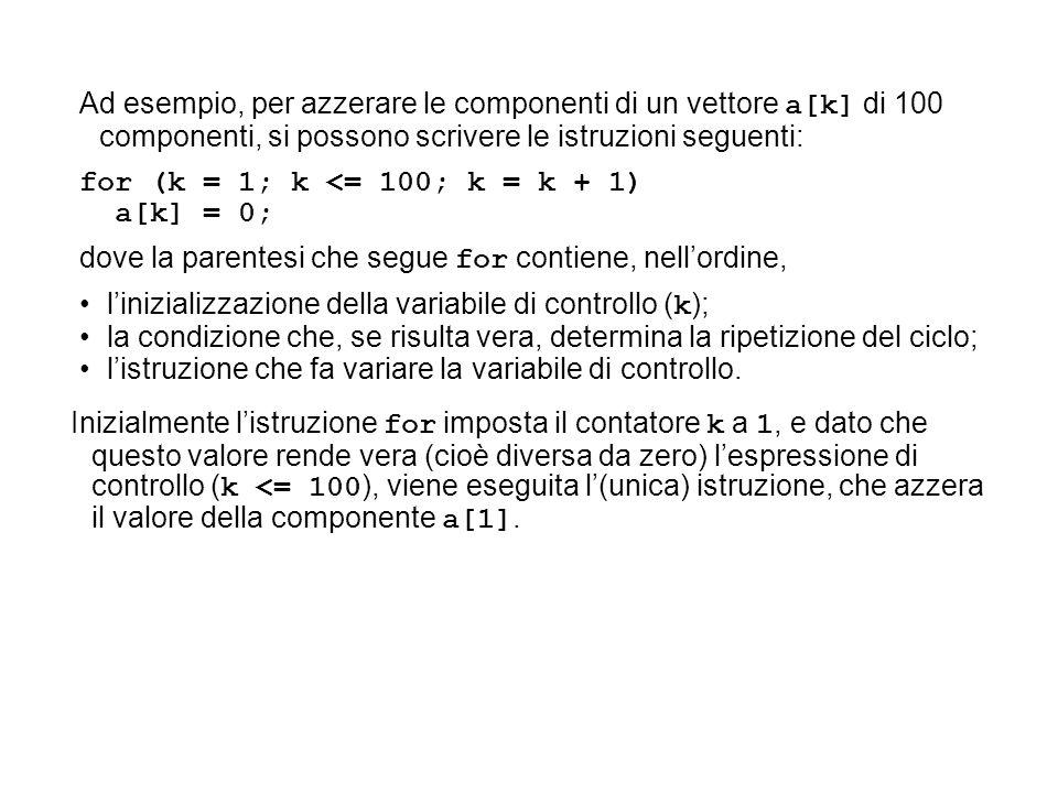 Ad esempio, per azzerare le componenti di un vettore a[k] di 100 componenti, si possono scrivere le istruzioni seguenti:
